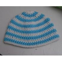 Gorro Argentina Tejido Crochet Modelo Bandera Rayas