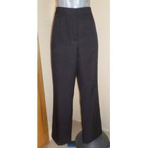 Pantalon Negro Con Finas Rayas Talla 32