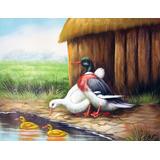 Quadro Tela Óleo Pintura Patos Pintado A Mão 40x30cm