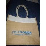 Bolsa De Tela De Rafia Con Logo De Florida