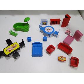 Super Lote Moveis Casa Boneca Polly Peppa Playmobil Lego