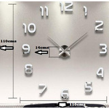 Reloj De Pared 3d Moderno Extra Grande Plata Envió Gratis