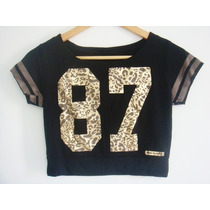Cropped Blusa Onça Estampada Camiseta Top Pronta Entrega