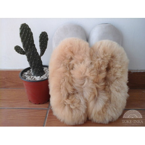 Pantuflas Cuero Corderito De Lana De Alpaca Y Oveja -unicas