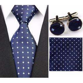 Juego Corbata Pañuelo Mancornas Vestido Paño Azul + Gris