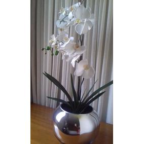 Arranjo Artificial Com Orquídeas Brancas Vaso Aquário Espelh
