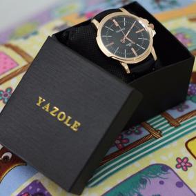 Relógio Masculino Luxo Pulseira De Couro + Caixa