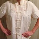 Blusa De Seda Chinesa Off White Rebordada (estilo Quimono)