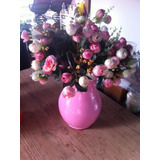 Arranjo Flores Artificiais Com Jarro Em Cerâmica Rosa