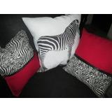 Cojines Animal Print Cebra Combinados Con Rojo
