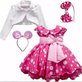 Vestido Minnie Rosa Pink Festa Luxo Minni E Mini E Bolero