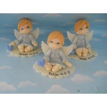 10 Souvenirs Bautismo, Angelitos. Porcelana Fria. Centros