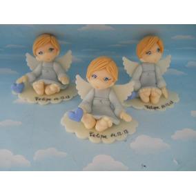 Souvenirs Angelitos Bautismo 10 Centros Mesa Porcelana Fría