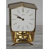 Antiguo Reloj Mesa Hermle Aleman Caja De Bronce Pila Pendulo