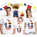 Lebrança De Aniversário Festa Caipira Camiseta 3 Un