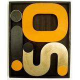 Composição Letras Em Metal Fixadas S/ Placa De Madeira