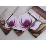 Promoção Lindo Quadro Pintura Em Relevo Tela De Flores Roxas
