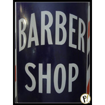 Antiga Placa Esmaltada Barber Shop Anos 40 Original Curva.