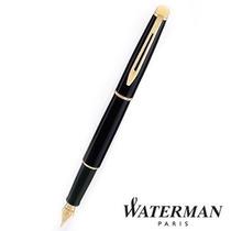 Lapicera Pluma Waterman Hemisphere Laca Negra Detalles Oro