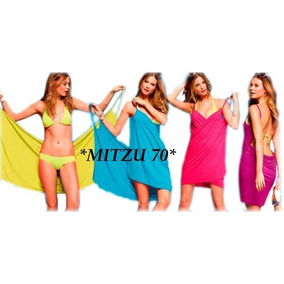 Vestidos Pareo Wrap Liso. Surtido Colores.
