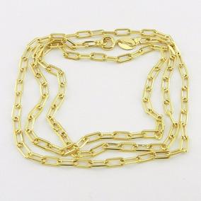 Corrente Masculina 90cm 3mm Cartier Folheado Ouro Cr682