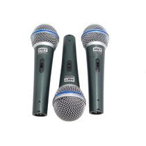 Kit 3 Microfones Mxt Profissionais + Cabos + Case Tipo Beta