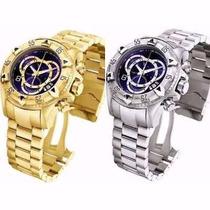 Relógio Masculino Dourado Grande Pesado Em Aço Na Caixa