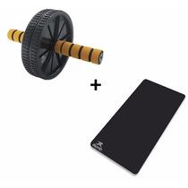 Kit Roda De Exercício Abdominal Exercise Whel + Tapete Eva