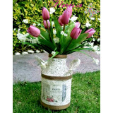 Bote Lechero Vintage Centros De Mesa Tulipanes Floreros