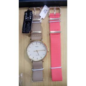 Reloj Timex Twg013400 Piel/nylon Café/ Dama Envío Gratis