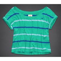 Camiseta Crop Verde Listrada Hollister Tamanho M/g Original