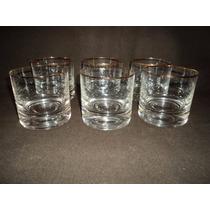 Juego 6 Vasos Whisky Borde Fileteado En Oro Impecables(453b)