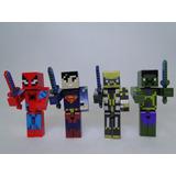 Mine Herois 4 Boneco Mine Com Ítens- Coleção Mine Craft