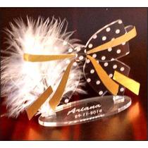 Souvenir Acrilico Moño 15 40 50 Flor Cumple Centro
