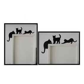 Silhueta Gatos Para Batente De Porta Trio