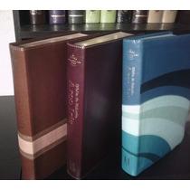 Biblia De Estudio Arco Iris Piel Varios Colores Azul. Café