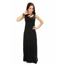 Vestido Longo Elegante Em Liganete Com Forro Maior Conforto