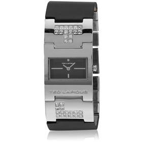 Reloj Ted Lapidus Original Correa De Cuero Y Cristales