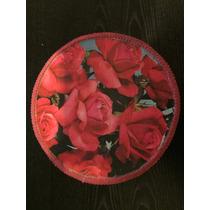 Antigua Caja De Madera Redonda Con Detalle De Flores