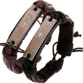 Pulseira Bracelete Pai Nosso Masculina E Feminina Em Couro