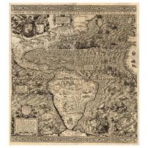 Lienzo Mapa Continente Americano 1562 56 X 50cm Gran Detalle
