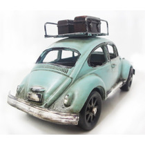 Fusca Azul Ferro 18cm Miniatura Vintage Retro Com Bagageiro