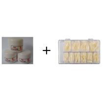 500 Unhas Acrigel Porcelana Gel Tips Natural + 3 Pó Acrílico