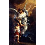 Anjo Da Guarda Criança Pintor Barrettini Na Tela Repro