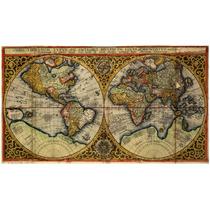 Lienzo Tela Mapa Mundi Año 1590 50 X 88 Cm Decoración Cuadro