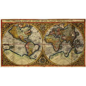 Lienzo Tela Canvas Cartografía Mapa Mundi 1590 Hemisferios