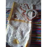 01 Pan0 De Prato Bordado À Mão Crochetado + Suporte