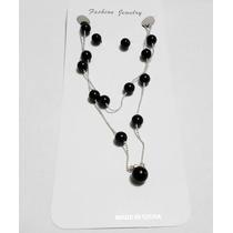 Collar Con Aretes - Bolitas Tipo Perlas