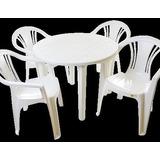 Kit 5 Jogos De Mesas Redonda Desmontável C/25 Cadeiras