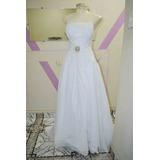 Vestido De Noiva Evase, Cetim E Musseline, Bordado Em Strass